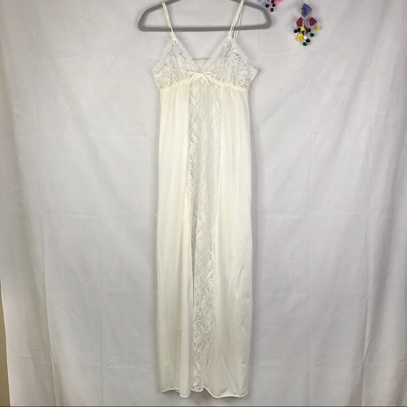 Vintage jill andrea of new york ivory lace panel slip nightgown